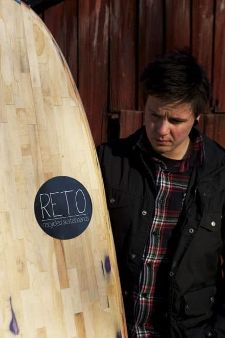 Surfboard made from recycled skateboards