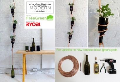 DIY: Wine bottles hanging herb garden