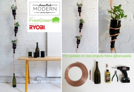 DIY: Wine bottles hanging herb garden