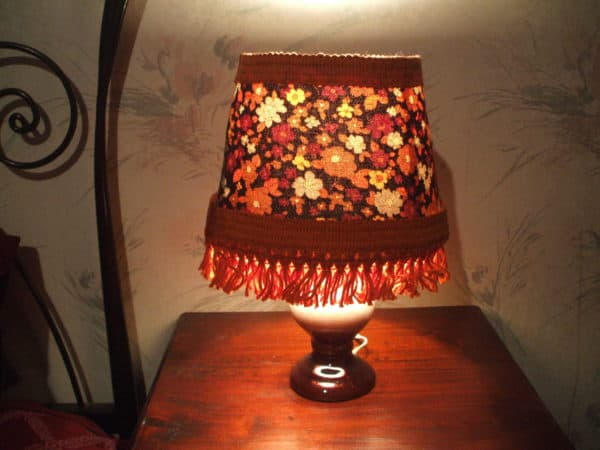 Emily Illuminates The World Lampshade in lights  with retro refashion Fabric DIY