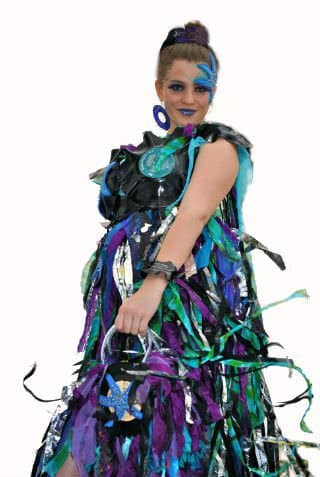 Under the Sea Wearable Art Costume in fabric art  with Vinyl Records VHS Upcycled Salvaged Reused Recycled Metal Fabric