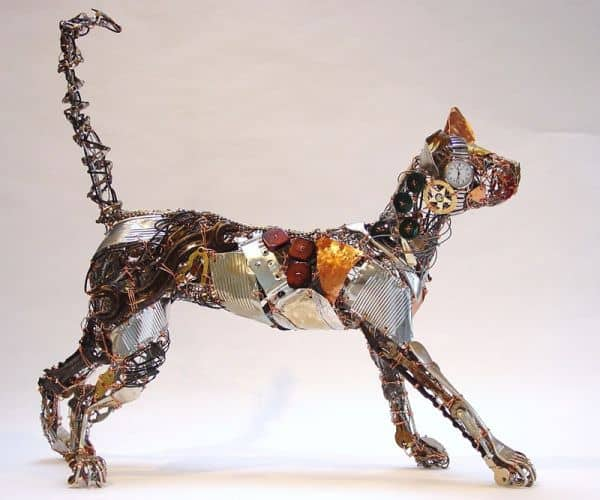 Sculptures created using discarded materials and wires by Barbara Franc Recycled Art