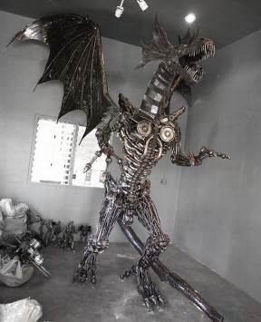 Giant steampunk dragon made from recycled auto parts