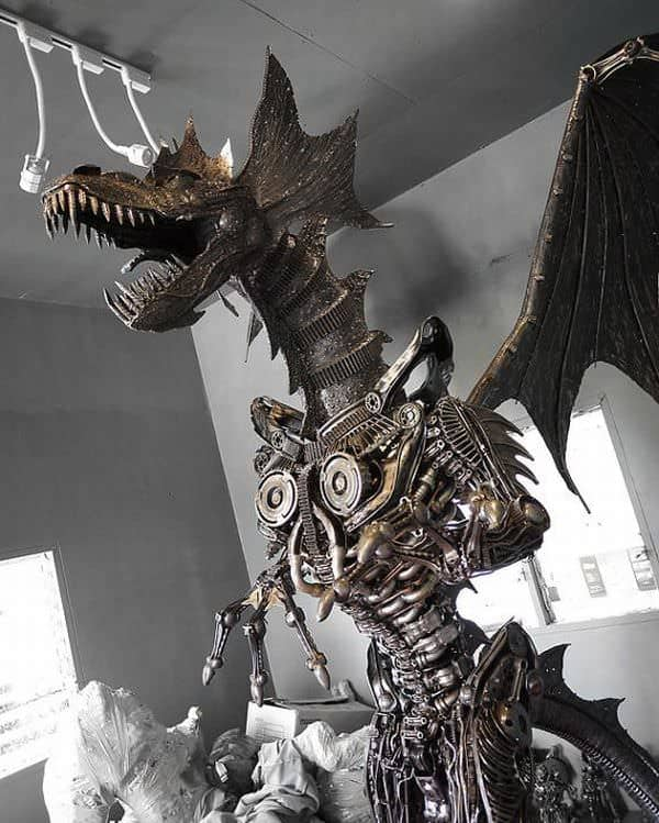 Giant steampunk dragon made from recycled auto parts  in art  with Sculpture Recycled Automotive