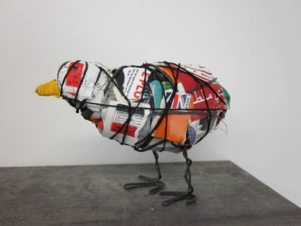 IMG 8372 600x450 Trash Bird in packagings art  with Sculpture Repurposed Recycled garbage Bird Art