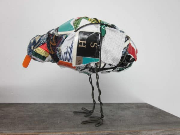 IMG 8381 600x450 Trash Bird in packagings art  with Sculpture Repurposed Recycled garbage Bird Art