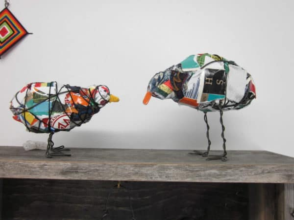 Trash Bird in art packagings  with Sculpture Repurposed Recycled Art Recycled garbage Bird