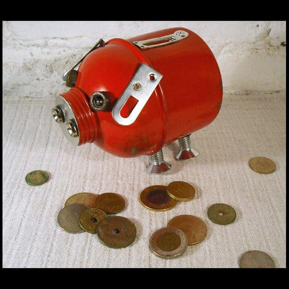 PBk Web Oink, the Piggy Bank in packagings art  with Upcycled Sculpture Recycled piggy bank Metal Assemblage Animal