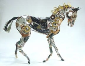 Sculptures created using discarded materials and wires by Barbara Franc