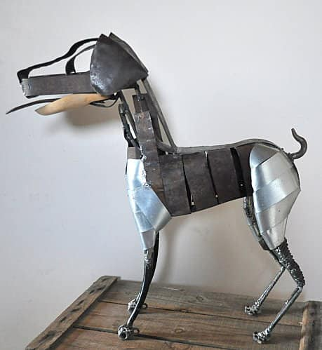 Poetic scrapgirl in metals art  with Woman welding Scrap Recycled iron fine Dog cool Cat Bird Art Animals