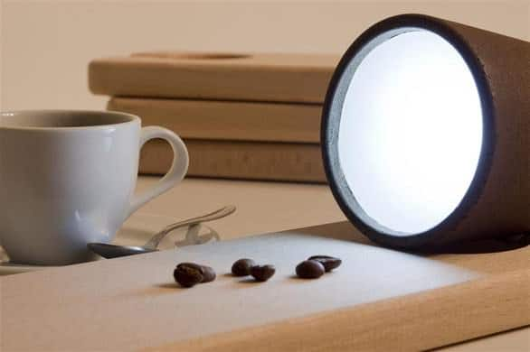 Coffee ground table lamps in wood lights  with Recycled Lamp