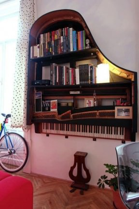 Piano bookshelf