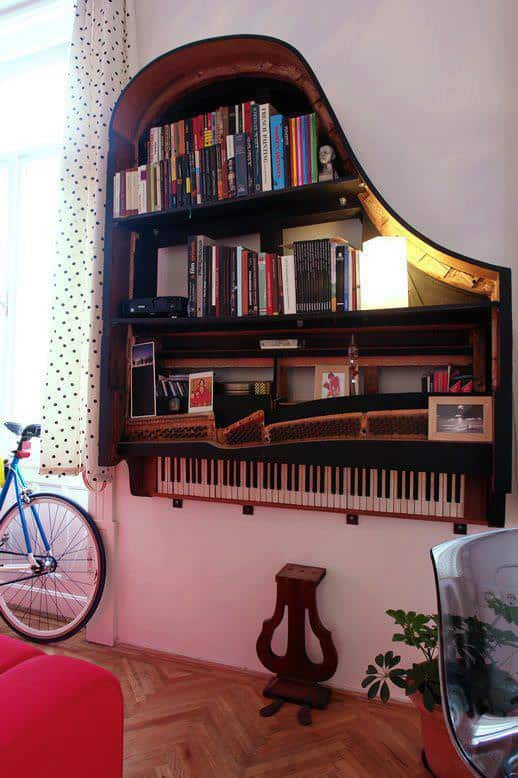 Piano bookshelf in furniture diy architecture  with Piano home decor Bookshelf Books