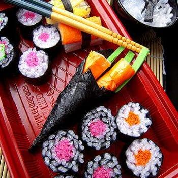 DIY Gourmet Play - Sushi from Groceries Packaging