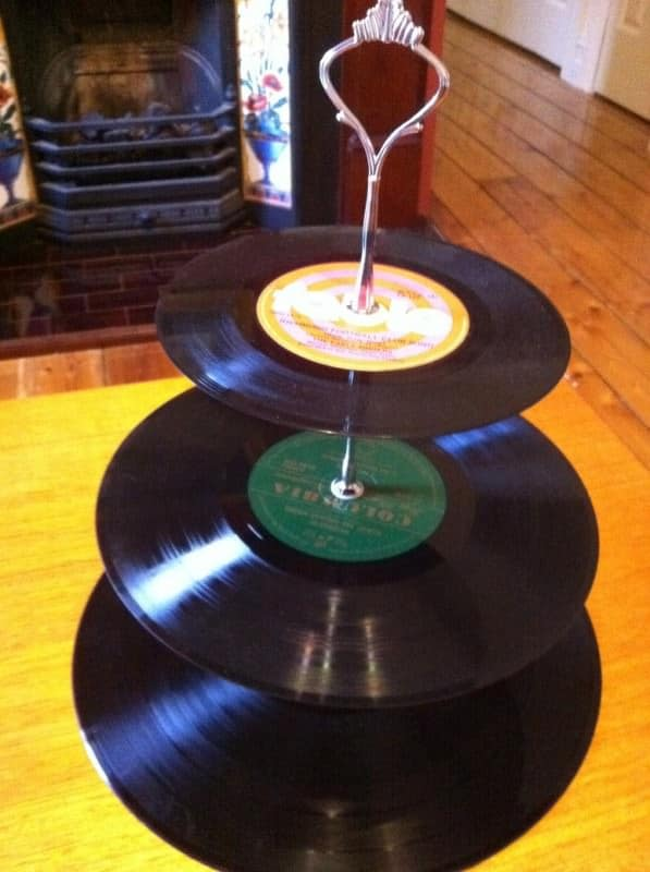 Upcycled Vinyl Cake Stand in vinyl records  with Cake