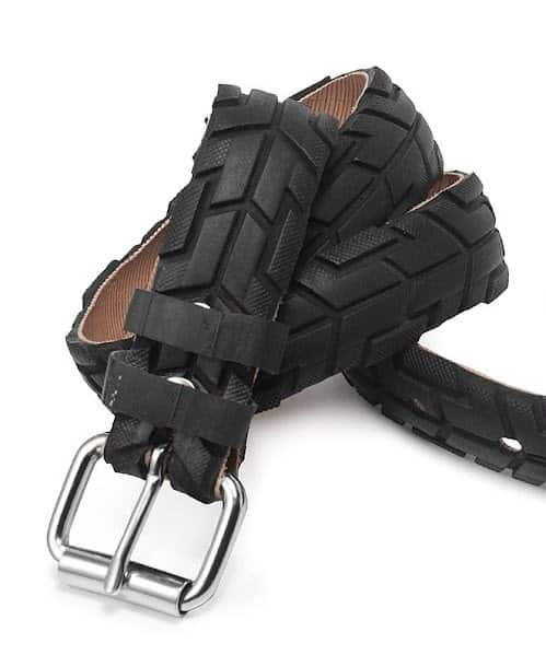 Recovered Bike Tire Belt in tyre inner tube accessories  with Upcycled Tire rubber Reused Recycled Metal Green DIY Clothes Bike Accessories