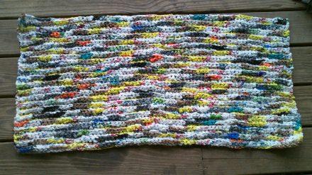 Colorful plastic bags door mat
