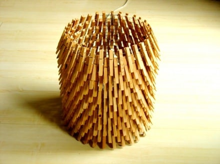 Lamp made with clothes pegs
