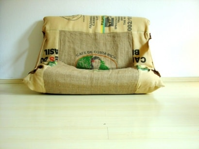 Armchair made from jute bags