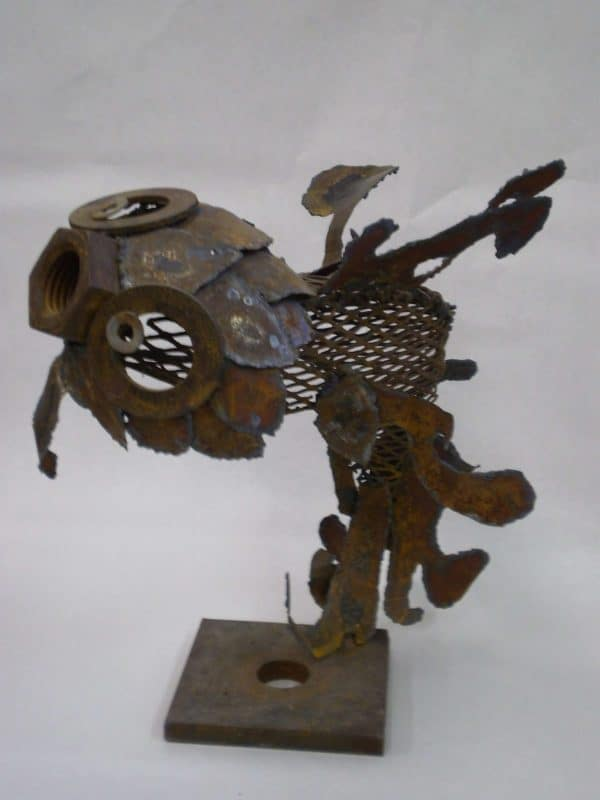 Metal Fish 1 600x800 Scrap Fish in metals art  with Sculpture Metal fish Art