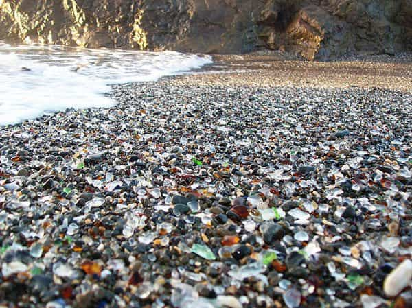 Glass beach   California in wood social glass  with landscape Land Art Glass Beach