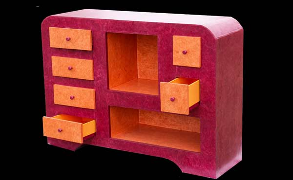 meuble rouge Atelier del Cartone in furniture cardboard  with Furniture Cardboard 