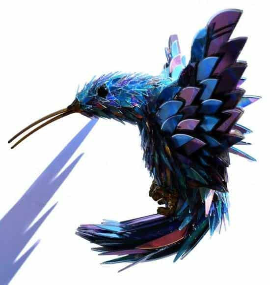 Sculptures from Shattered CDs in electronics art  with Sculpture CD Art Animals