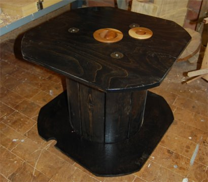 Transform recycled cable reel to a living room table