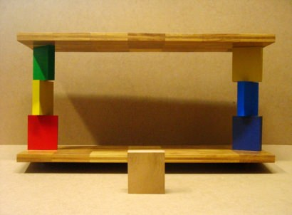 Shelf made from wooden pieces