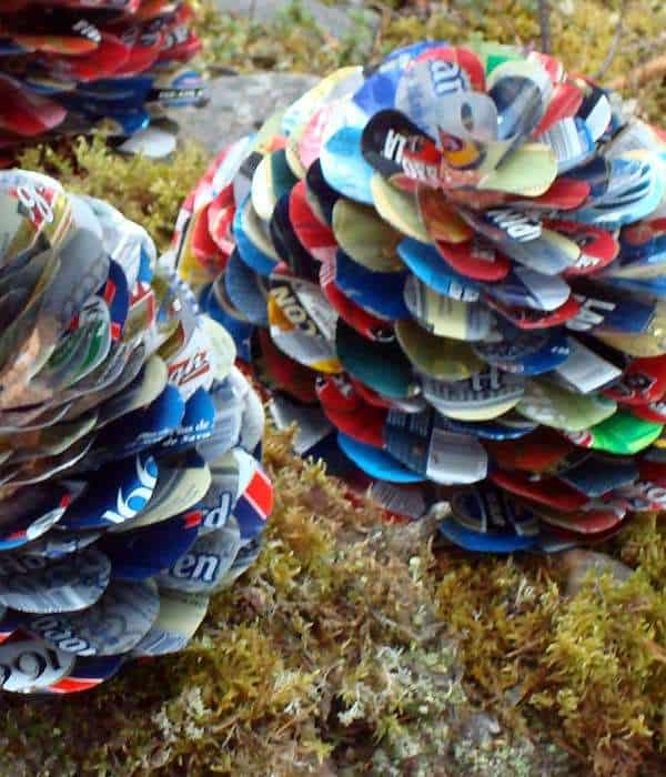 Pine cones made of beer cans Recycled Art Recycled Packaging