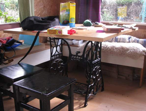 Wooden floor table in diy architecture  with Table old