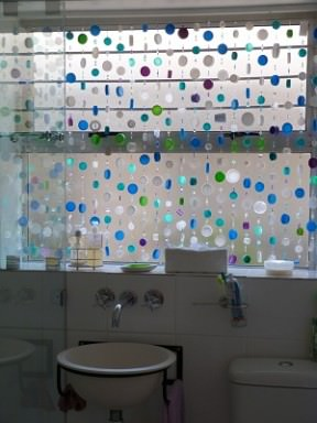 Bottle top bathroom curtain
