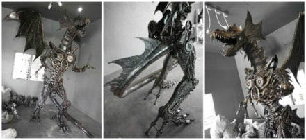 Giant Steampunk Dragon Made From Recycled Car Parts