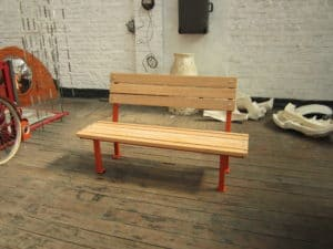 Industrial bench with reclaimed beechwood