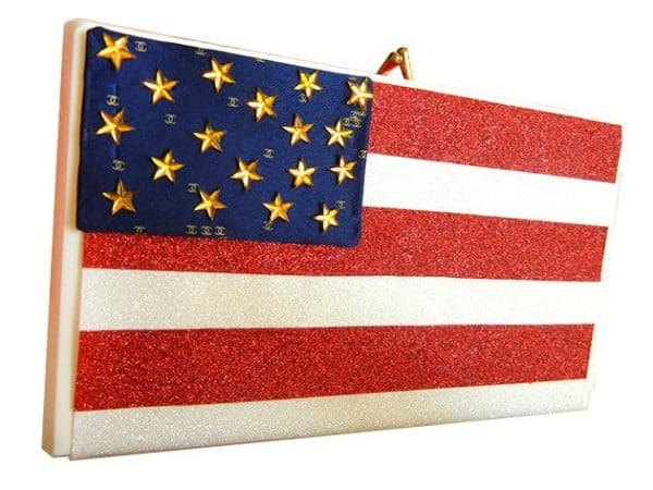american flag clutch 600x450 DIY Olympics Edition: Sparkly Patriotic Flag Clutch Out of an Old Video Tape Case in diy  with VHS flag case