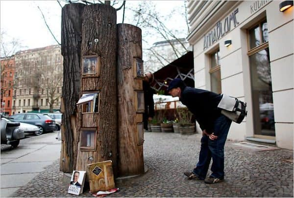 book forest 600x405 Book forest in wood social paper  with Street Art Social library free Book 