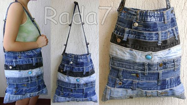 Jeans Waistband Bag in fabric diy  with Upcycled unique trousers sew Recycled jeans DIY denim blue Bags