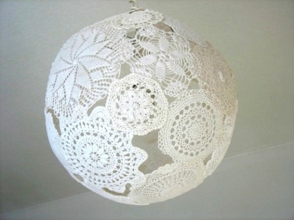 Lamp lace in lights  with Recycled Art Recycled Polish original Light Lamp Handmade design