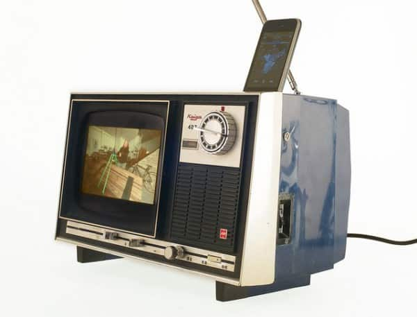 Old TV iPhone dock Recycled Electronic Waste