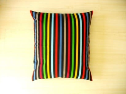 Pillows to seat made from old curtains