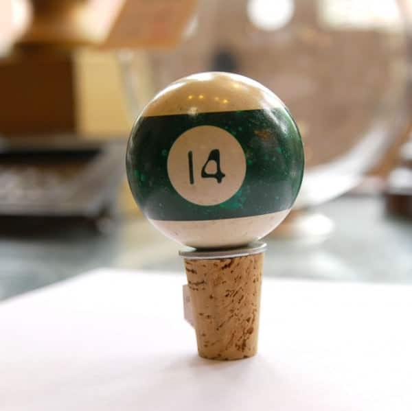 pool bottle03 600x599 Upcycled Pool Ball Bottle Stopper in accessories  with pool Bottle Billiard 