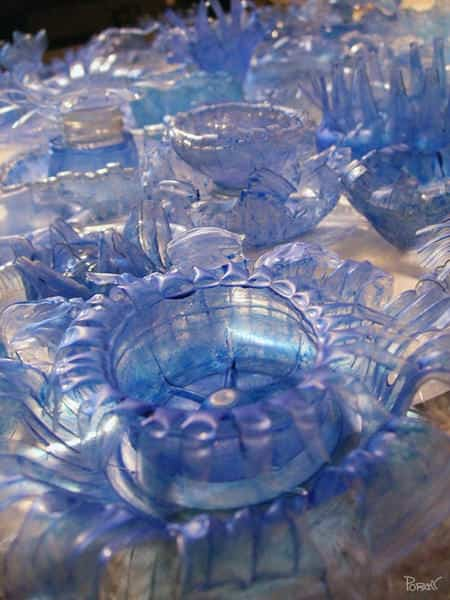 poramitC Arctic Garden: Sculpture using reshape plastic bottles in plastics art  with Sculpture Recycled Plastic design Bottle Art