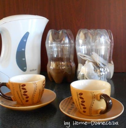 Tea, Coffee, Sugar Cannisters from plastic bottles