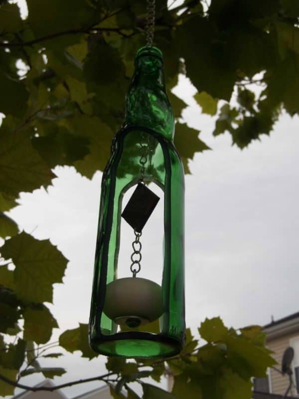 100 4391 600x800 Recycled Wine Bottle Wind Chime in glass accessories  with Wine Upcycled Green 