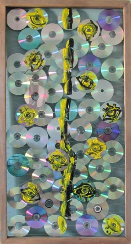 I Division in art electronics  with Wires wall hanging Recycled CD Assemblage Abstract