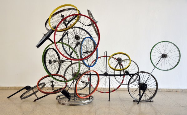 Re Cycling Again in art bike friends  with welding trendy Tire Sculpture Recycled Art Recycled play old new Metal fun Found object experiment Color Bike