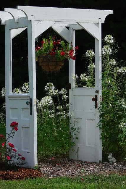Old doors   > arbor in wood furniture diy  with Garden Flowers