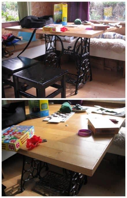 Wooden floor table