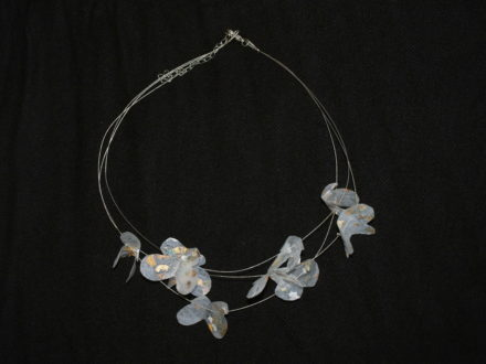 Necklace made with recycled plastic bags