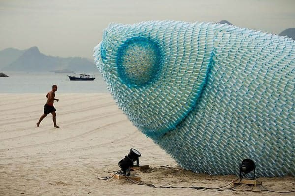 Recycle Your Attitude in plastics art  with Recycled Plastic fish Bottle Art